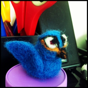needle felted blue bird
